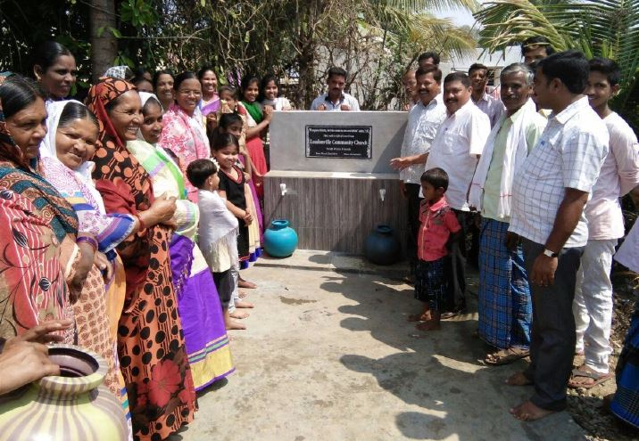 Water well installation in India for Rise India